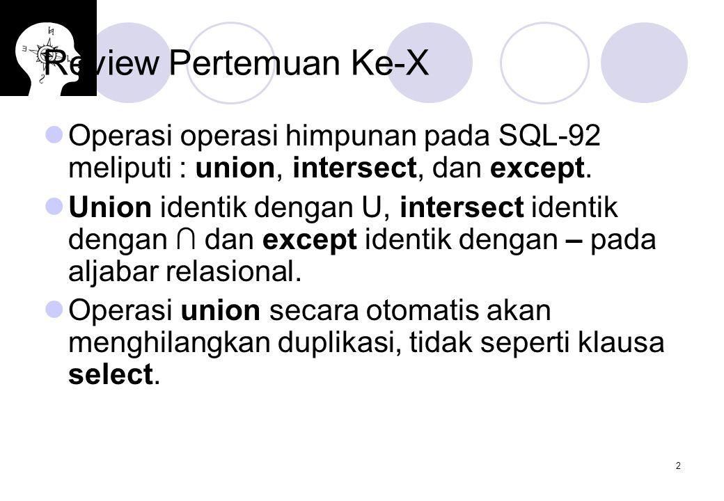 Review Pertemuan Ke-X Operasi operasi himpunan pada SQL-92 meliputi : union, intersect, dan except.