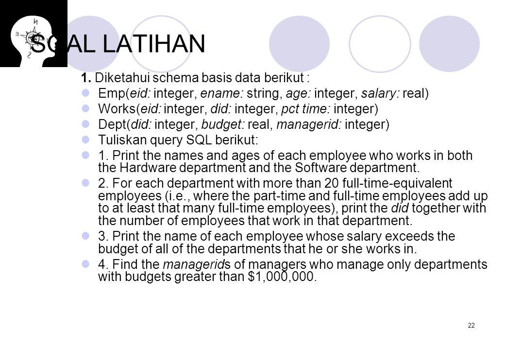 SOAL LATIHAN 1. Diketahui schema basis data berikut :