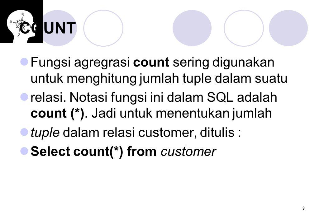 COUNT Fungsi agregrasi count sering digunakan untuk menghitung jumlah tuple dalam suatu.