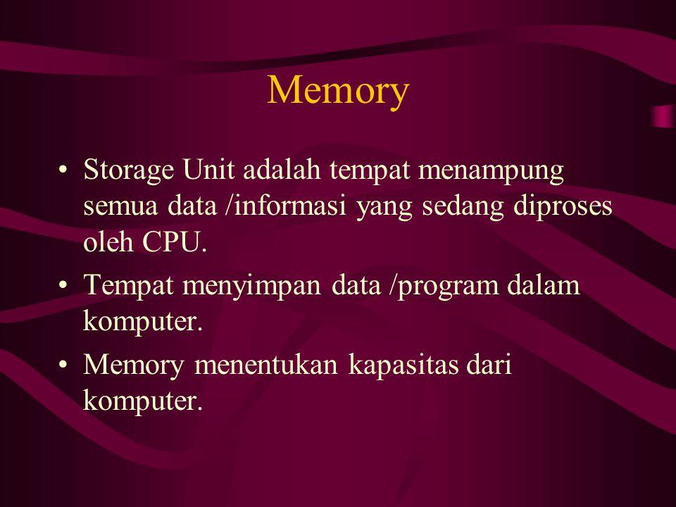 Memory Storage Unit adalah tempat menampung semua data /informasi yang sedang diproses oleh CPU. Tempat menyimpan data /program dalam komputer.