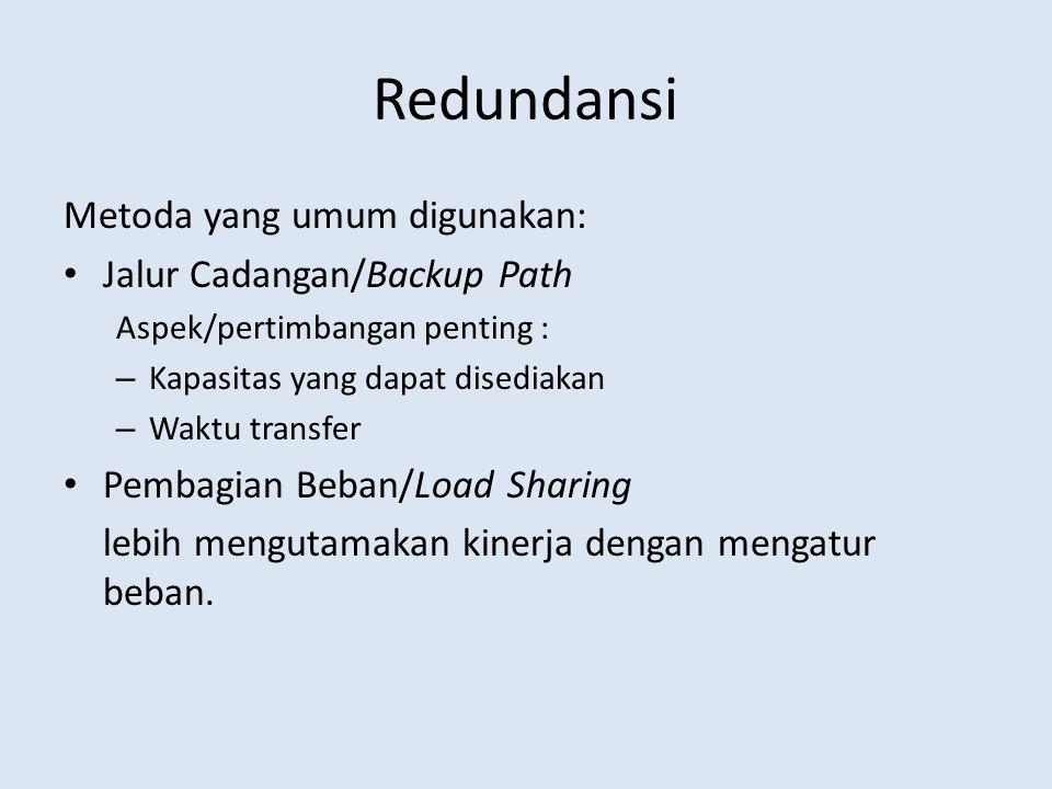 Redundansi Metoda yang umum digunakan: Jalur Cadangan/Backup Path