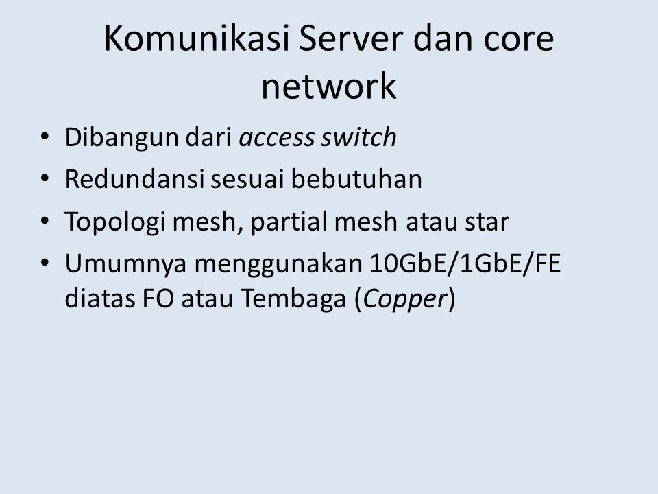 Komunikasi Server dan core network