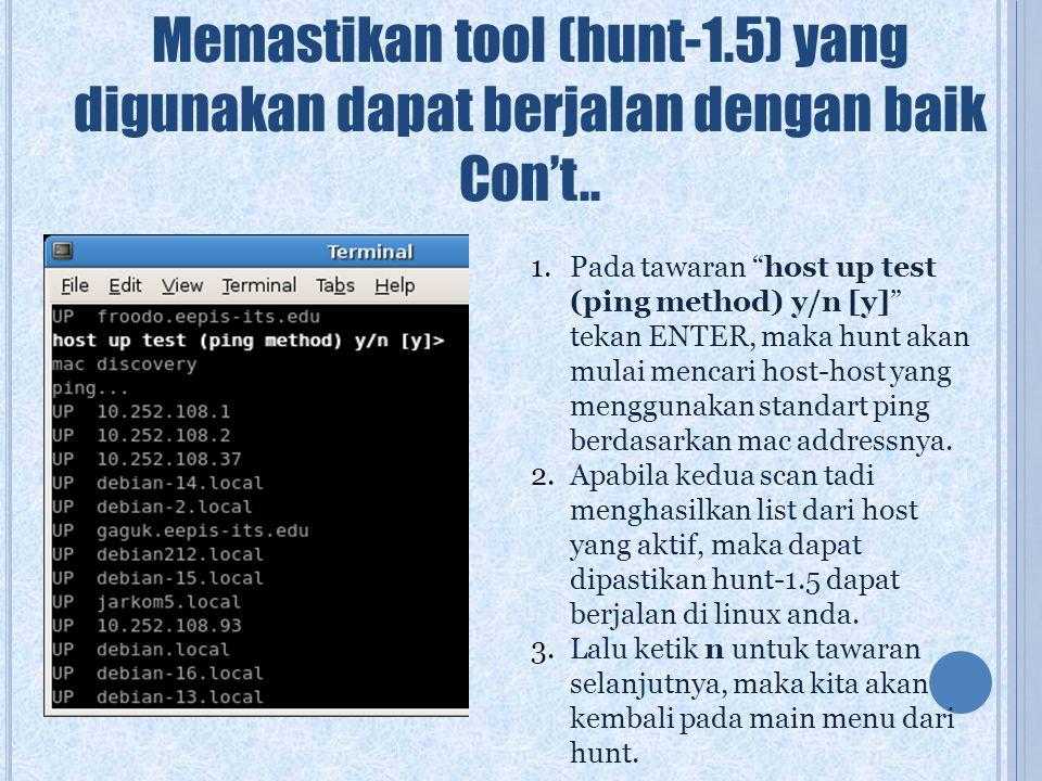 Memastikan tool (hunt-1