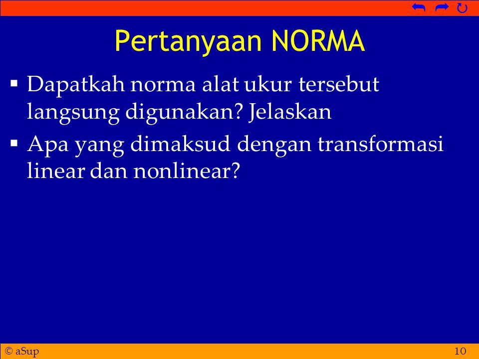 Pertanyaan NORMA Dapatkah norma alat ukur tersebut langsung digunakan.