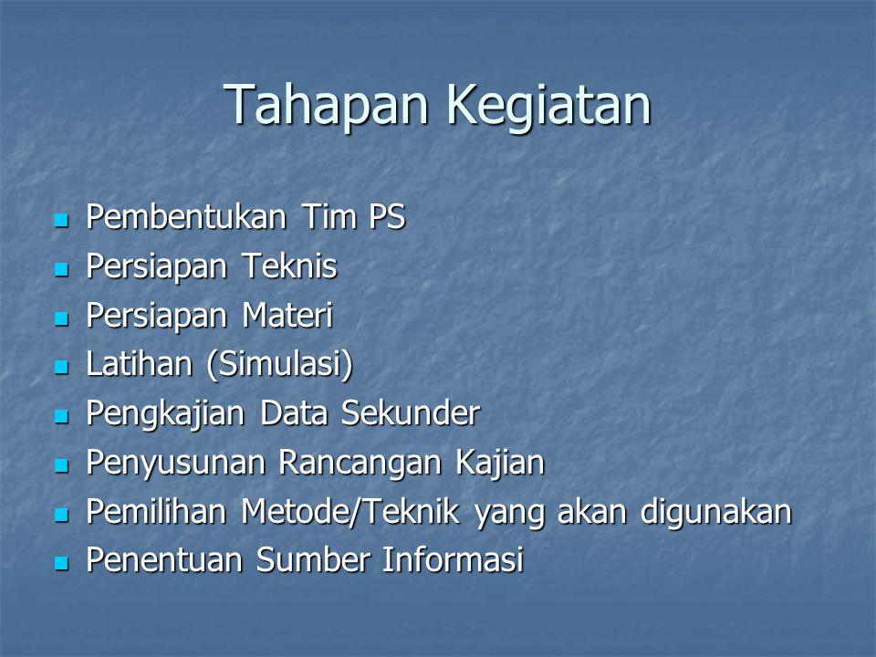 Tahapan Kegiatan Pembentukan Tim PS Persiapan Teknis Persiapan Materi
