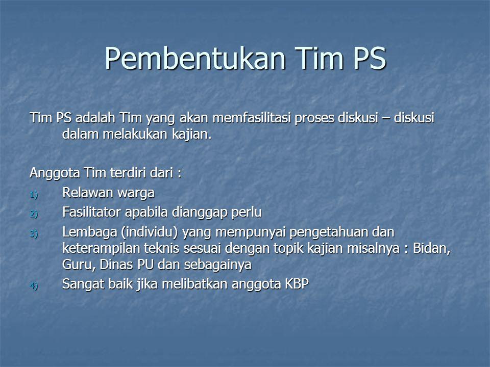 Pembentukan Tim PS Tim PS adalah Tim yang akan memfasilitasi proses diskusi – diskusi dalam melakukan kajian.