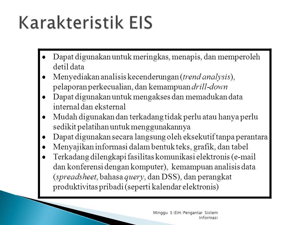Karakteristik EIS Dapat digunakan untuk meringkas, menapis, dan memperoleh detil data.
