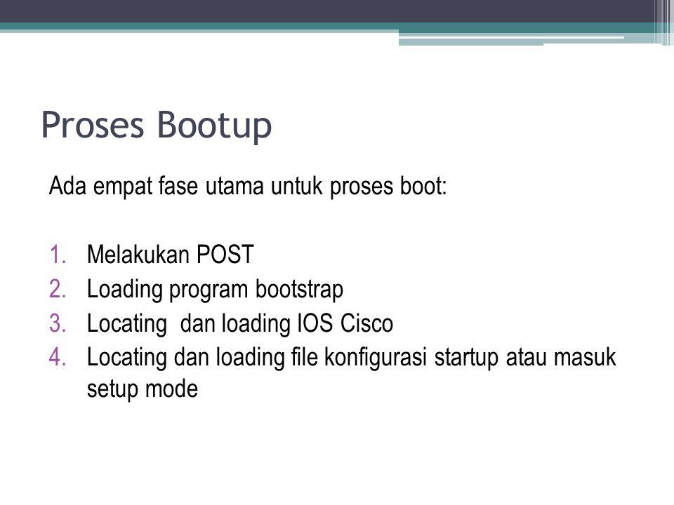 Proses Bootup Ada empat fase utama untuk proses boot: Melakukan POST