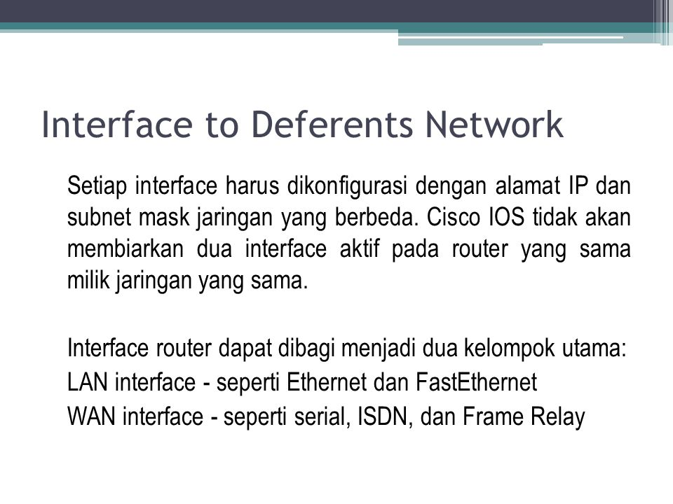 Interface to Deferents Network