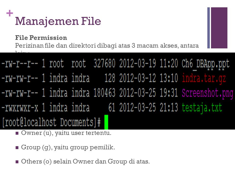 Manajemen File File Permission Perizinan file dan direktori dibagi atas 3 macam akses, antara lain :