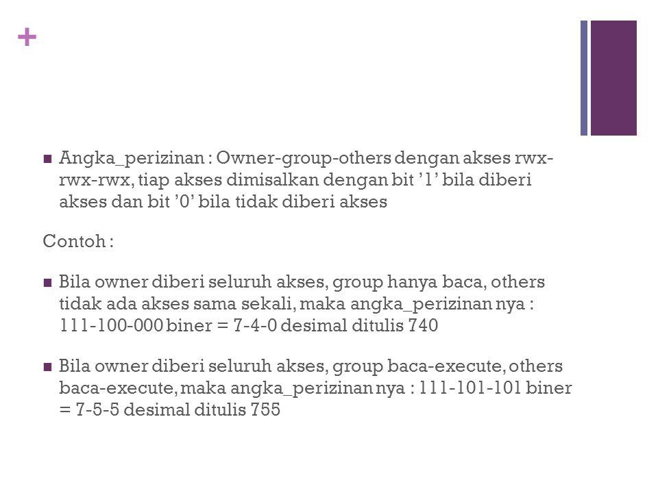 Angka_perizinan : Owner-group-others dengan akses rwx- rwx-rwx, tiap akses dimisalkan dengan bit '1' bila diberi akses dan bit '0' bila tidak diberi akses