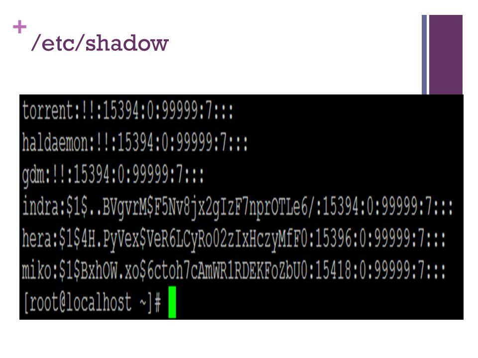 /etc/shadow Baris pada /etc/shadow mengandung serangkaian karakter yang tidak dapat diartikan : $1$BxhOW.xo$6ctoh7cAmWR1RDEKFoZbU0.