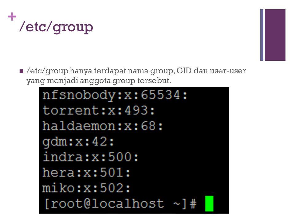 /etc/group /etc/group hanya terdapat nama group, GID dan user-user yang menjadi anggota group tersebut.