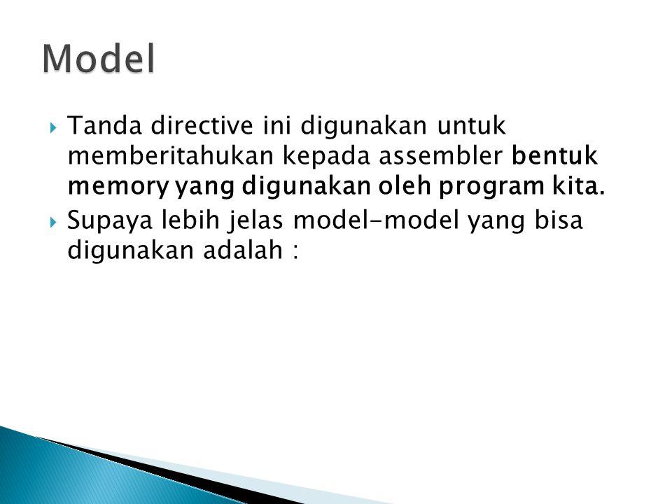 Model Tanda directive ini digunakan untuk memberitahukan kepada assembler bentuk memory yang digunakan oleh program kita.