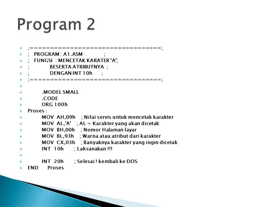 Program 2 ;=================================; ; PROGRAM : A1.ASM ;