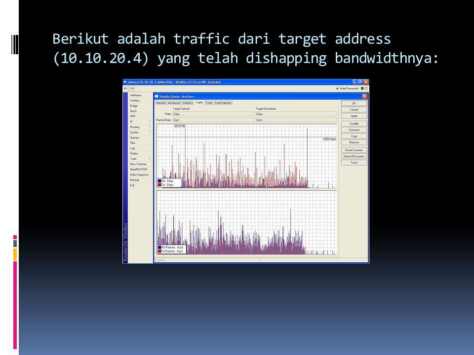 Berikut adalah traffic dari target address (10. 10. 20
