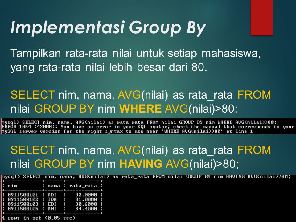 Implementasi Group By