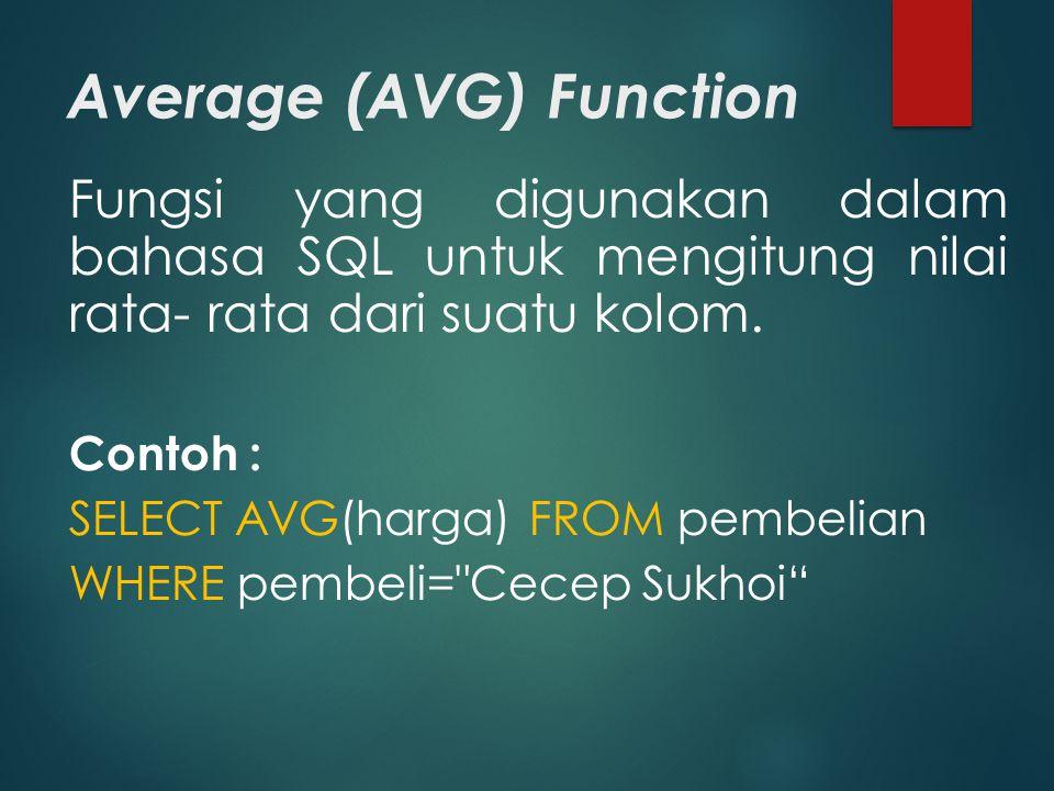 Average (AVG) Function