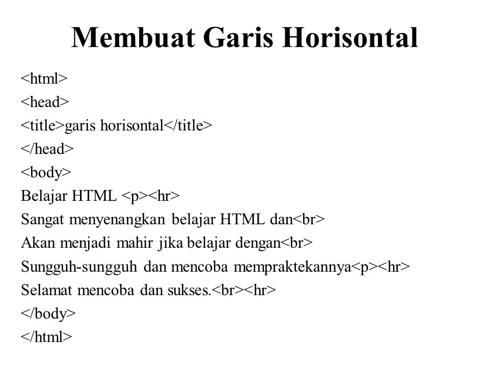 Membuat Garis Horisontal