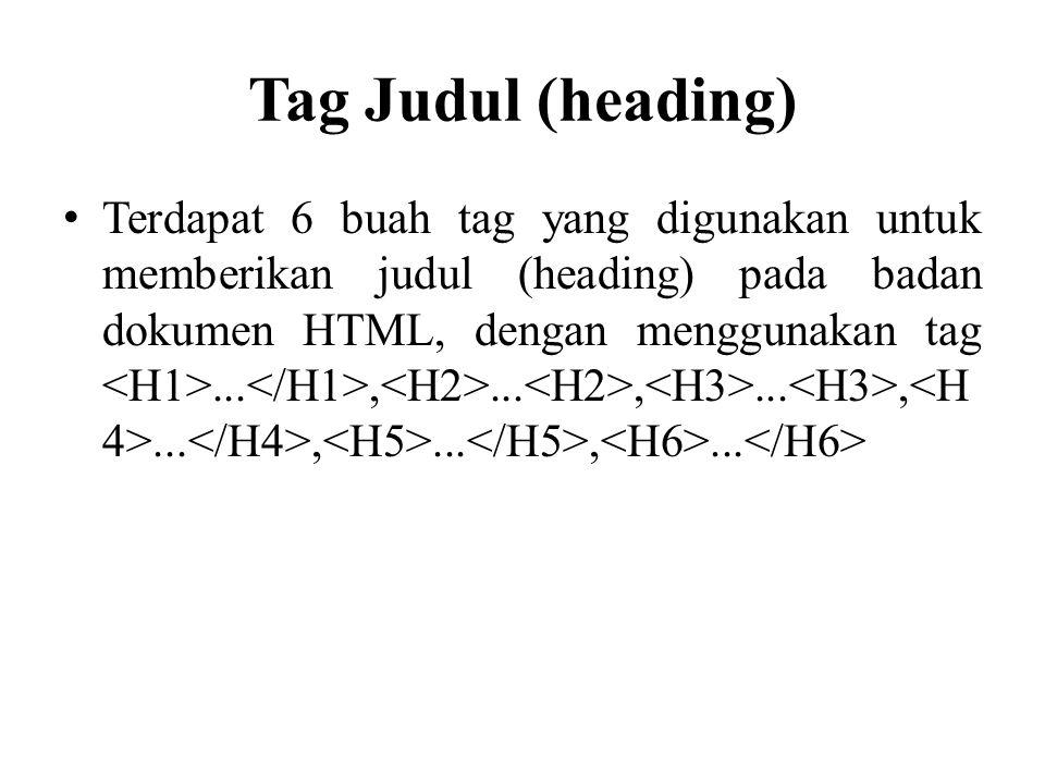 Tag Judul (heading)