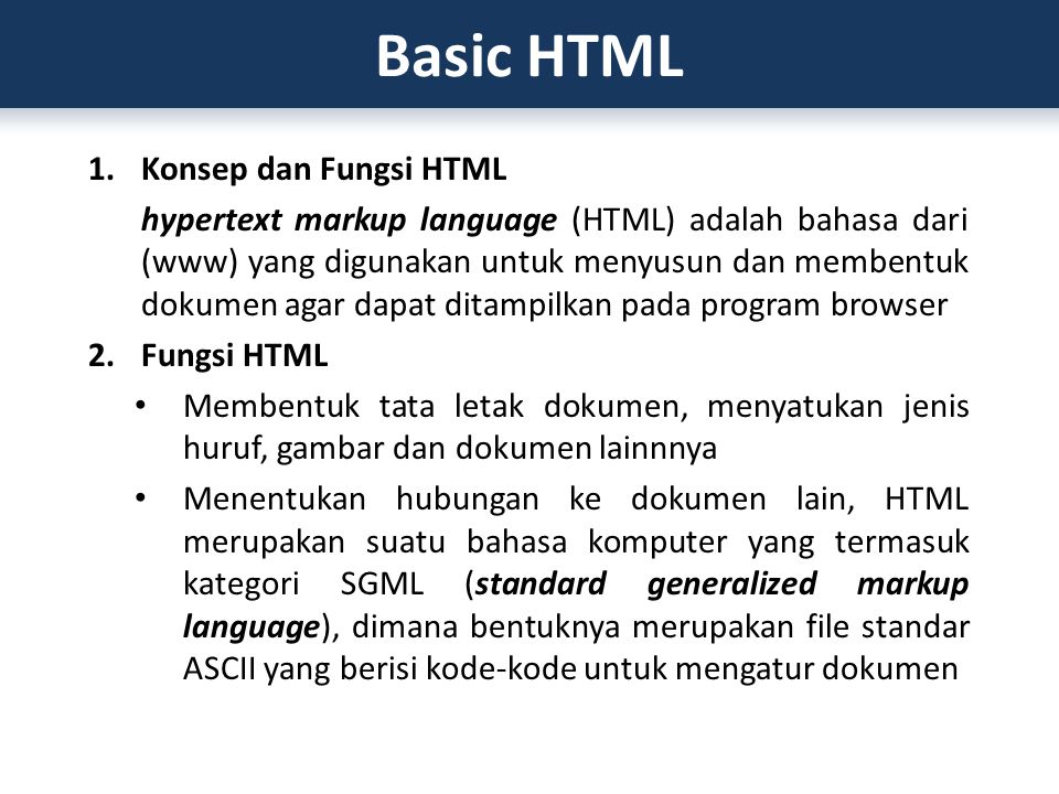 Basic HTML Konsep dan Fungsi HTML