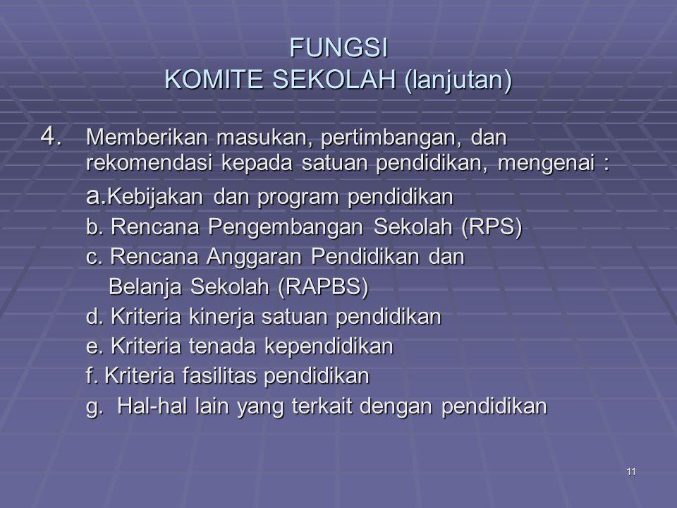 FUNGSI KOMITE SEKOLAH (lanjutan)