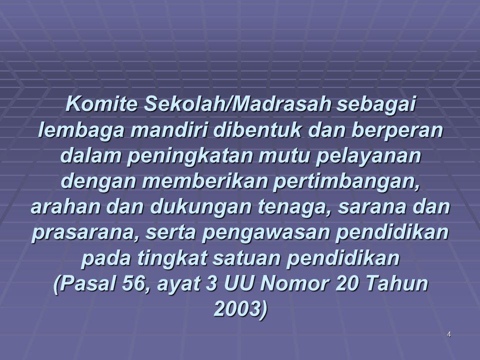 Komite Sekolah/Madrasah sebagai lembaga mandiri dibentuk dan berperan dalam peningkatan mutu pelayanan dengan memberikan pertimbangan, arahan dan dukungan tenaga, sarana dan prasarana, serta pengawasan pendidikan pada tingkat satuan pendidikan (Pasal 56, ayat 3 UU Nomor 20 Tahun 2003)