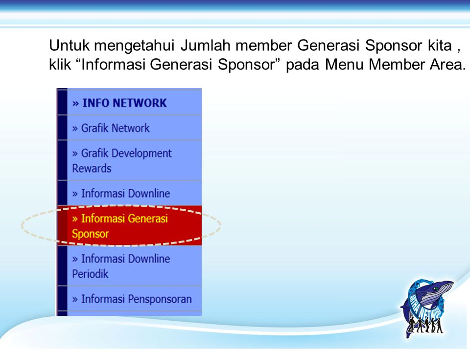 Untuk mengetahui Jumlah member Generasi Sponsor kita ,