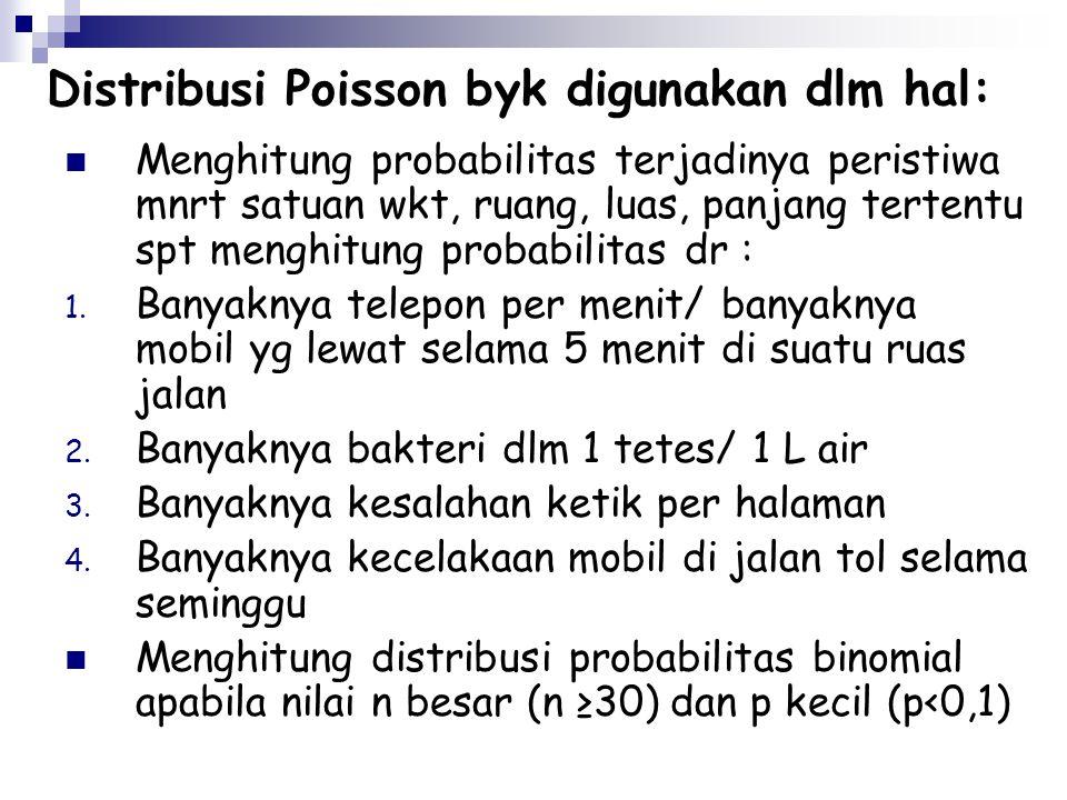 Distribusi Poisson byk digunakan dlm hal: