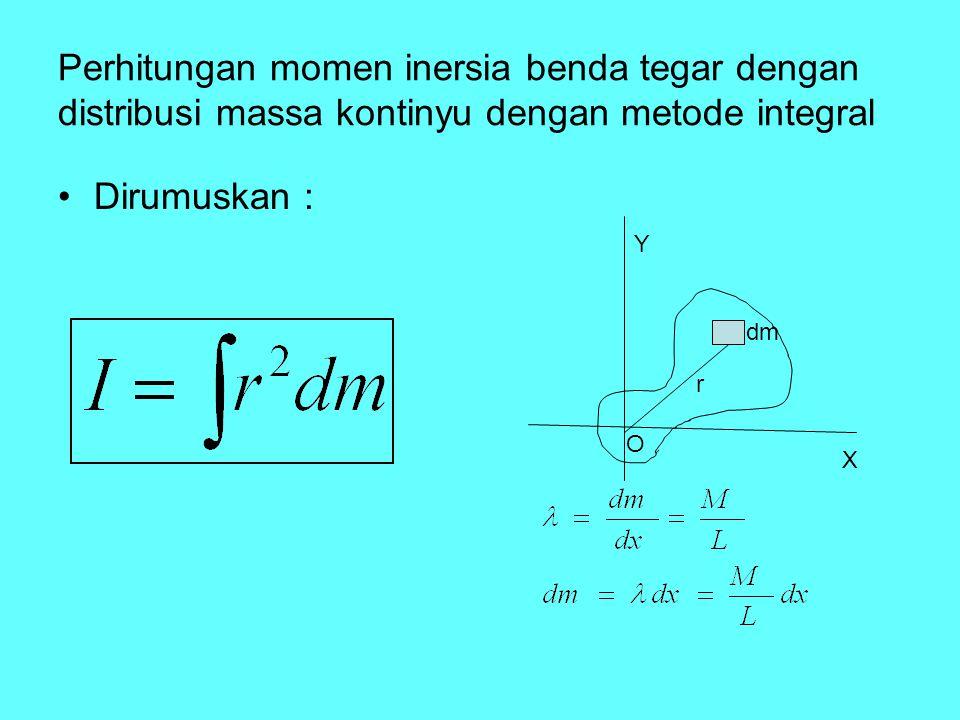 Perhitungan momen inersia benda tegar dengan distribusi massa kontinyu dengan metode integral