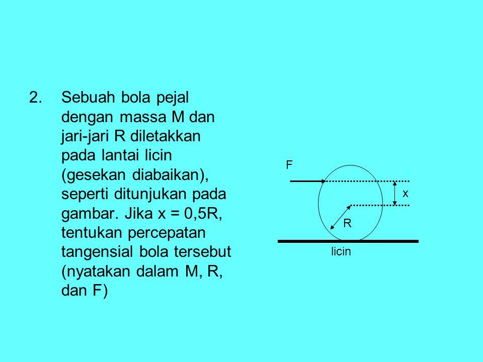 Sebuah bola pejal dengan massa M dan jari-jari R diletakkan pada lantai licin (gesekan diabaikan), seperti ditunjukan pada gambar. Jika x = 0,5R, tentukan percepatan tangensial bola tersebut (nyatakan dalam M, R, dan F)