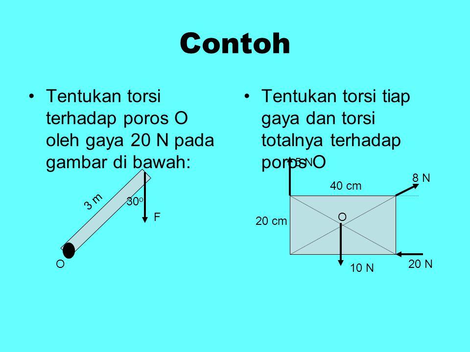 Contoh Tentukan torsi terhadap poros O oleh gaya 20 N pada gambar di bawah: Tentukan torsi tiap gaya dan torsi totalnya terhadap poros O.