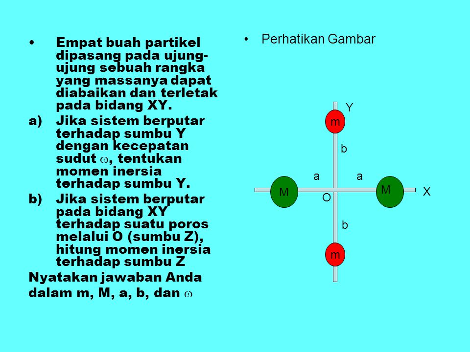 Perhatikan Gambar Empat buah partikel dipasang pada ujung-ujung sebuah rangka yang massanya dapat diabaikan dan terletak pada bidang XY.