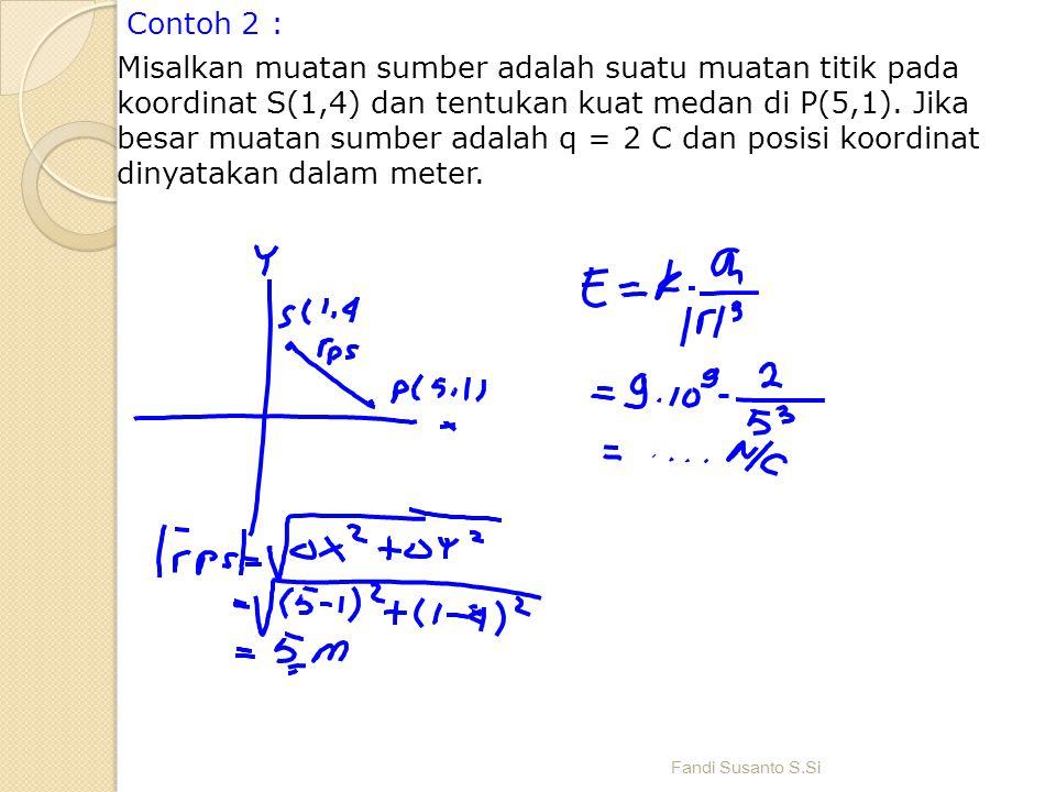 Contoh 2 : Misalkan muatan sumber adalah suatu muatan titik pada koordinat S(1,4) dan tentukan kuat medan di P(5,1). Jika besar muatan sumber adalah q = 2 C dan posisi koordinat dinyatakan dalam meter.
