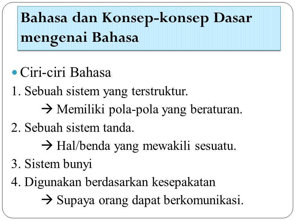 Bahasa dan Konsep-konsep Dasar mengenai Bahasa