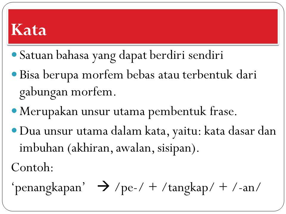 Kata Satuan bahasa yang dapat berdiri sendiri