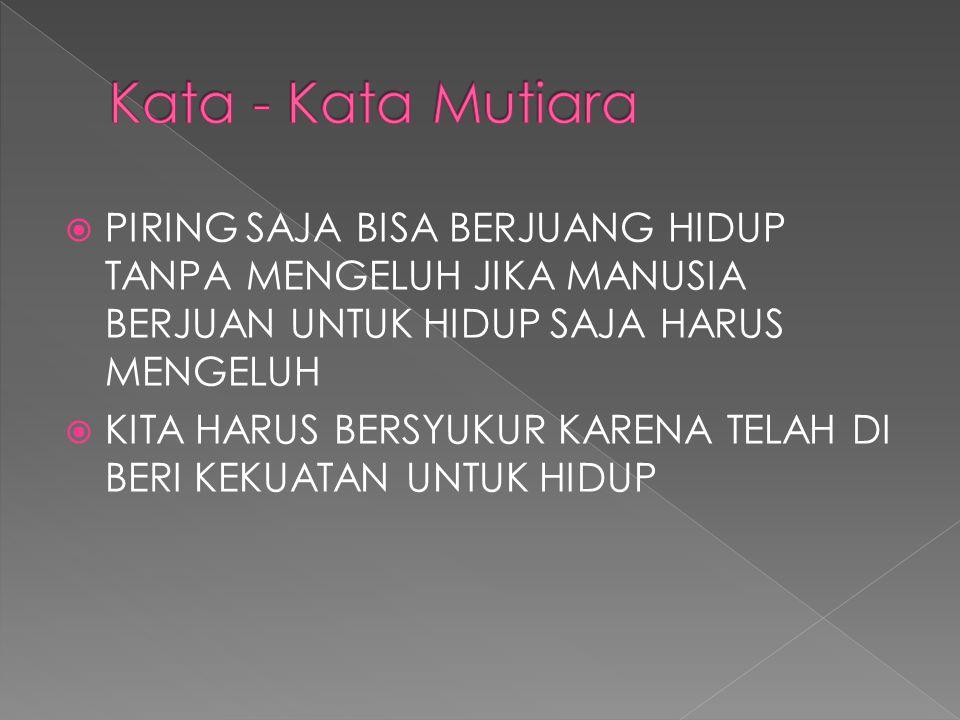 Kata - Kata Mutiara PIRING SAJA BISA BERJUANG HIDUP TANPA MENGELUH JIKA MANUSIA BERJUAN UNTUK HIDUP SAJA HARUS MENGELUH.