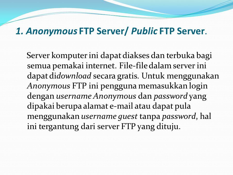 1. Anonymous FTP Server/ Public FTP Server.