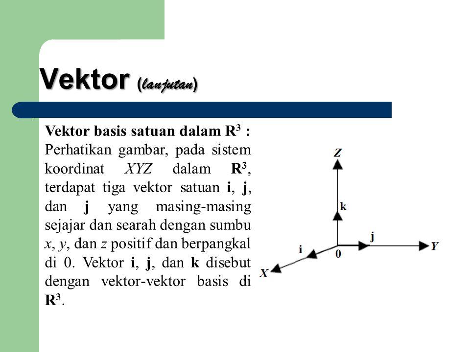 Vektor (lanjutan) Vektor basis satuan dalam R3 :
