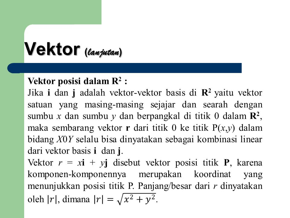 Vektor (lanjutan) Vektor posisi dalam R2 :