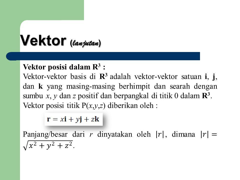 Vektor (lanjutan) Vektor posisi dalam R3 :