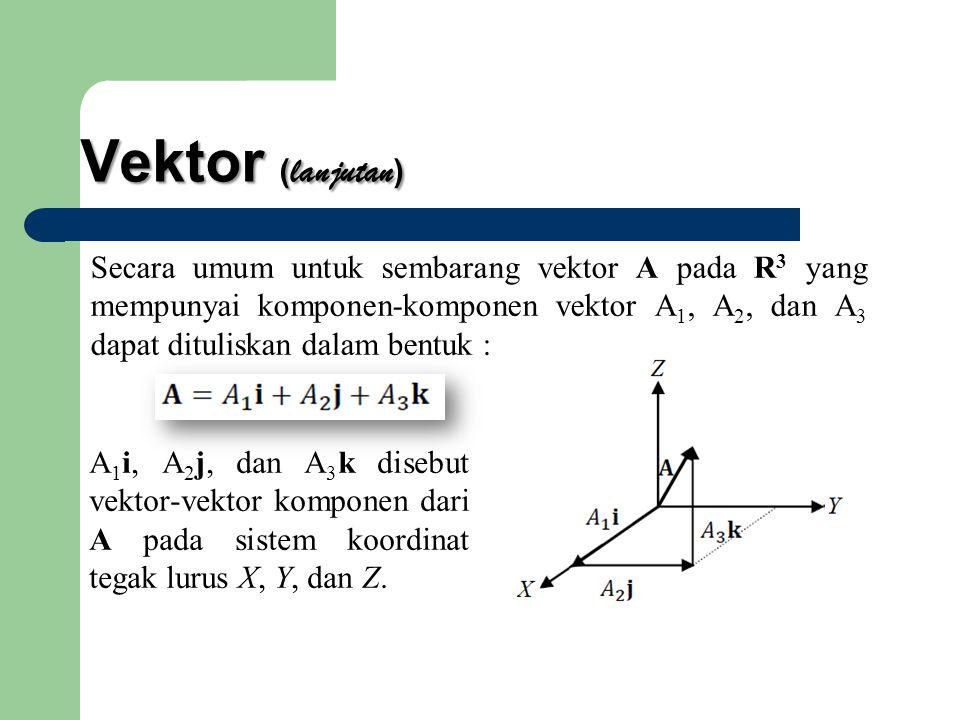 Vektor (lanjutan) Secara umum untuk sembarang vektor A pada R3 yang mempunyai komponen-komponen vektor A1, A2, dan A3 dapat dituliskan dalam bentuk :