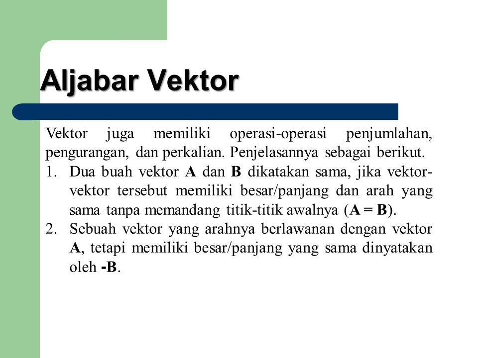 Aljabar Vektor Vektor juga memiliki operasi-operasi penjumlahan, pengurangan, dan perkalian. Penjelasannya sebagai berikut.