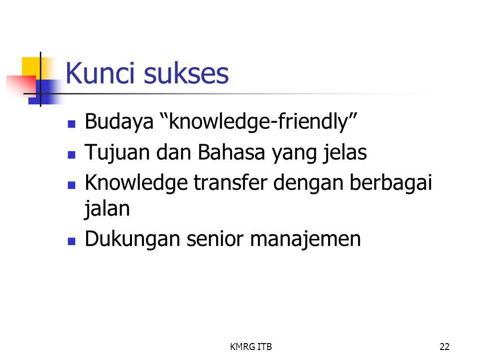 Kunci sukses Budaya knowledge-friendly Tujuan dan Bahasa yang jelas