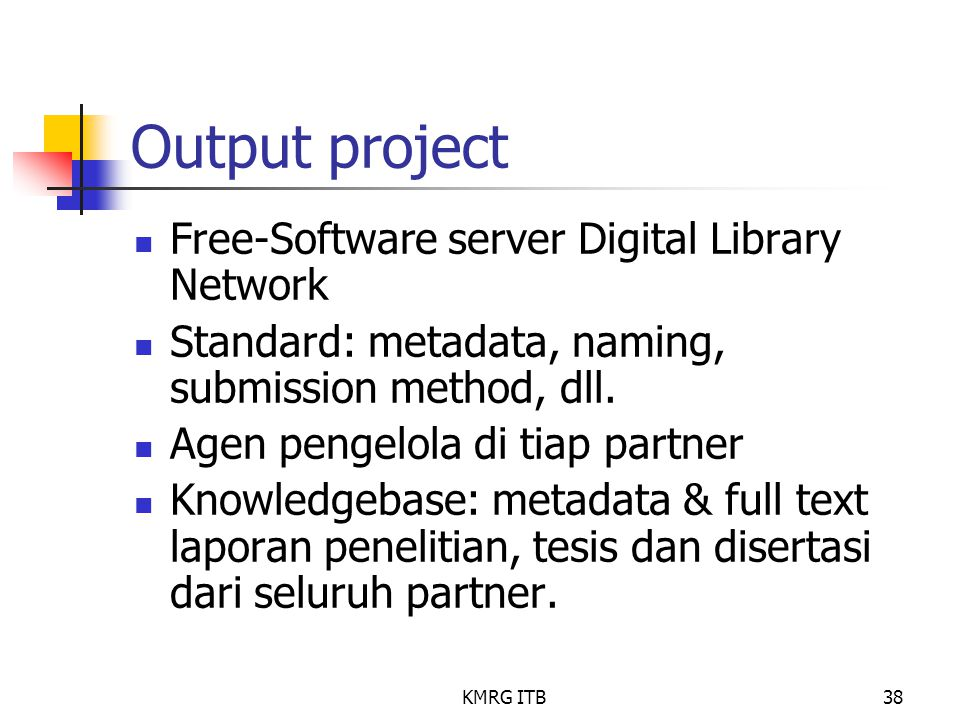 Output project Free-Software server Digital Library Network
