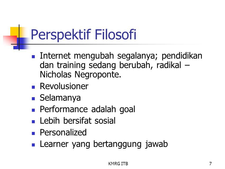 Perspektif Filosofi Internet mengubah segalanya; pendidikan dan training sedang berubah, radikal – Nicholas Negroponte.