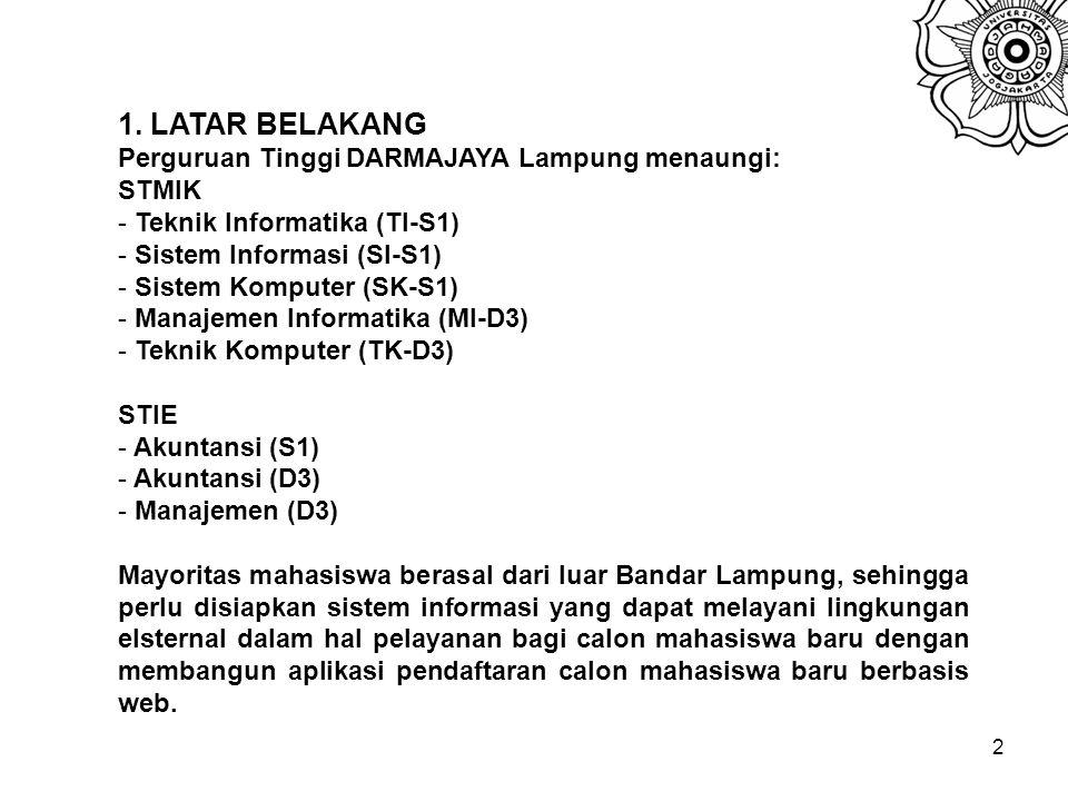 1. LATAR BELAKANG Perguruan Tinggi DARMAJAYA Lampung menaungi: STMIK
