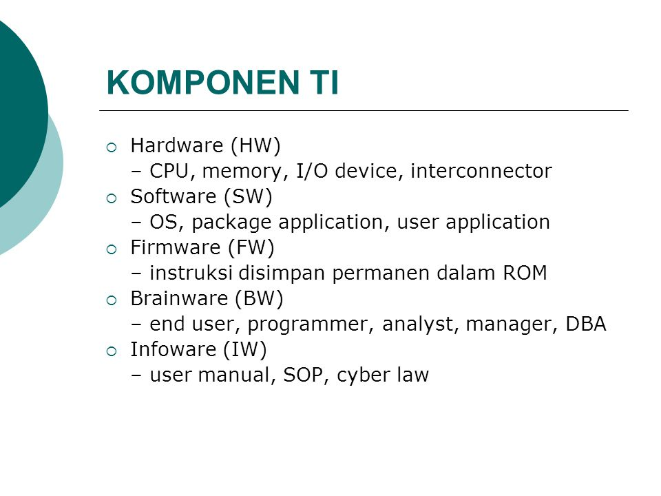 KOMPONEN TI Hardware (HW) – CPU, memory, I/O device, interconnector