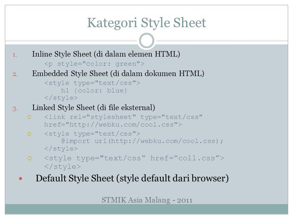 Kategori Style Sheet Default Style Sheet (style default dari browser)