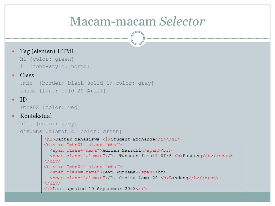 Macam-macam Selector Tag (elemen) HTML Class ID Kontekstual